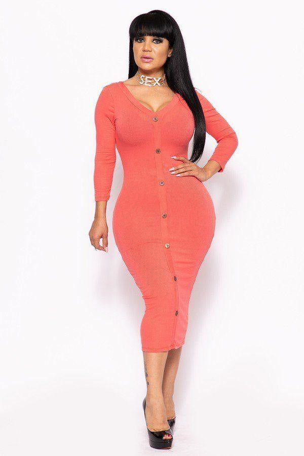 Button Me Up Ribbed Midi Dress - 4 Colors - Coral / US:14-16 | XL - Long Sleeve Dresses