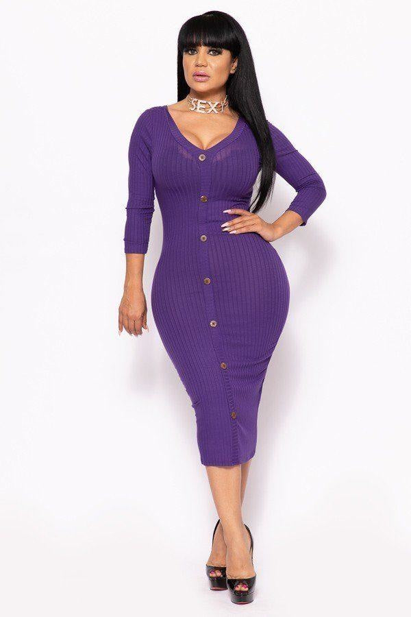 Button Me Up Ribbed Midi Dress - 4 Colors - Purple / US:14-16 | XL - Long Sleeve Dresses