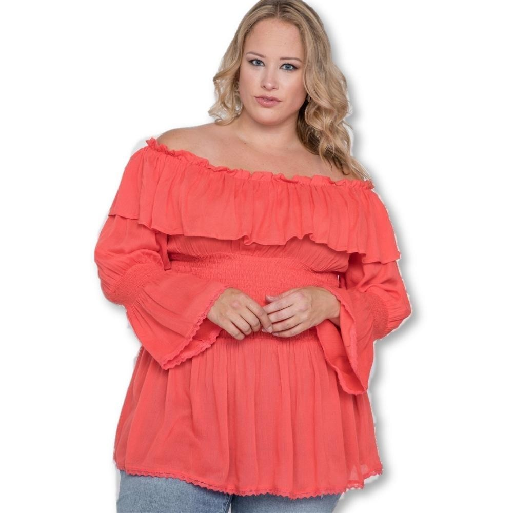 Daisy Delight Off-The-Shoulder Top - Hot Coral / US: 14-16 | XL - Tops - Longsleeve