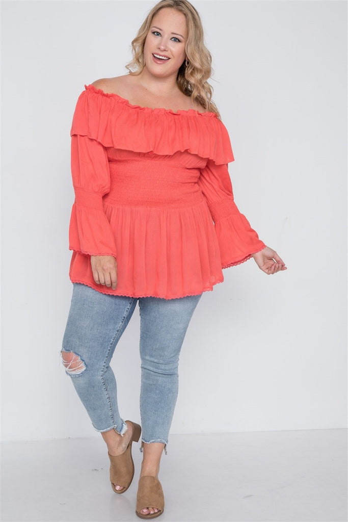Daisy Delight Off-The-Shoulder Top - Hot Coral / US:18-20 | 2XL - Tops - Longsleeve