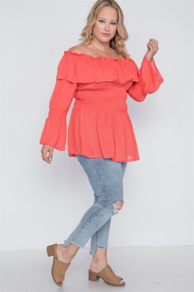 Daisy Delight Off-The-Shoulder Top - Hot Coral / US:22-24 | 3XL - Tops - Longsleeve