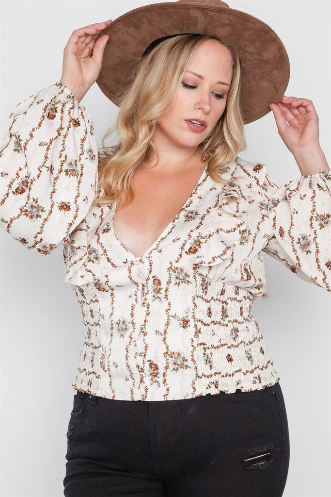 Floral V-neck Ruffle Long Sleeve Top