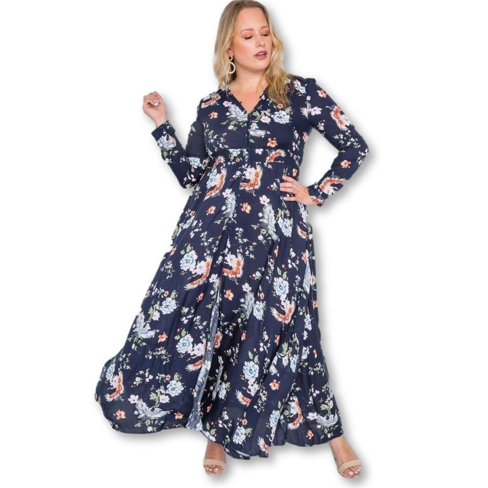 Give Me Flowers Maxi Dress - Dark Blue - Long Sleeve Dresses