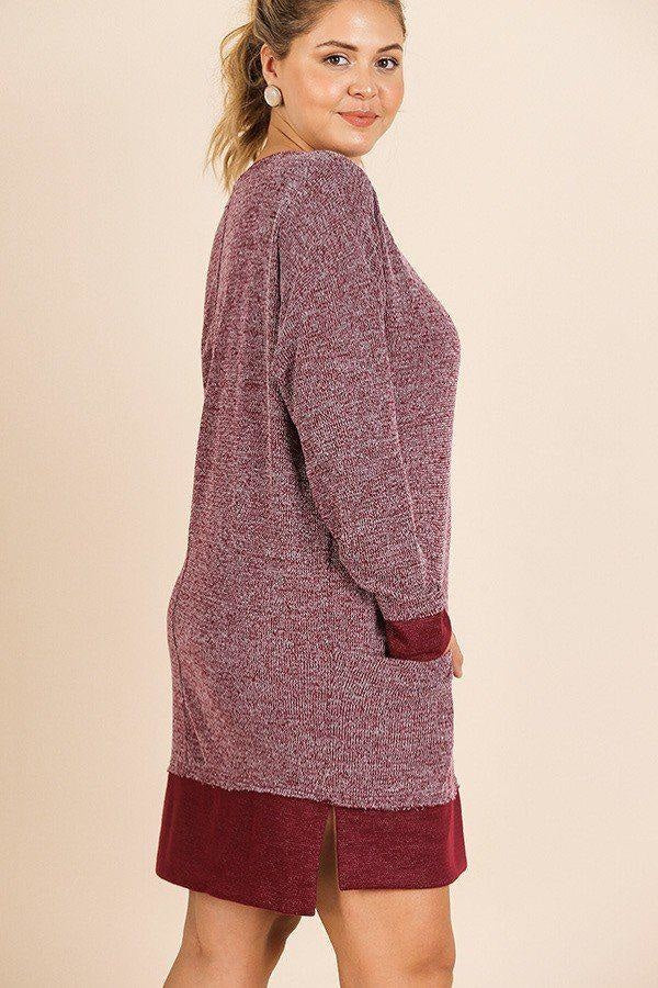 Hand in Hand Knit Dress - Wine - Long Sleeve Dresses