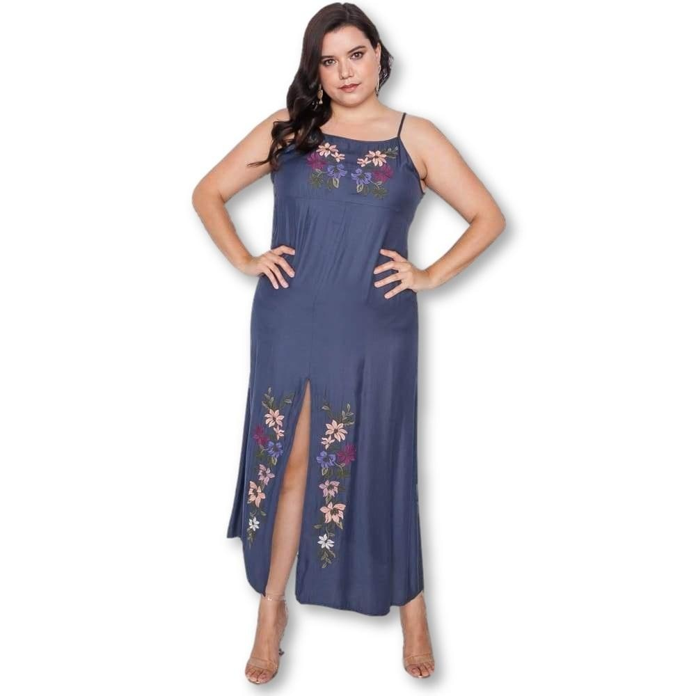 Just A Hint Embroidered Maxi Dress - Sleeveless Dresses