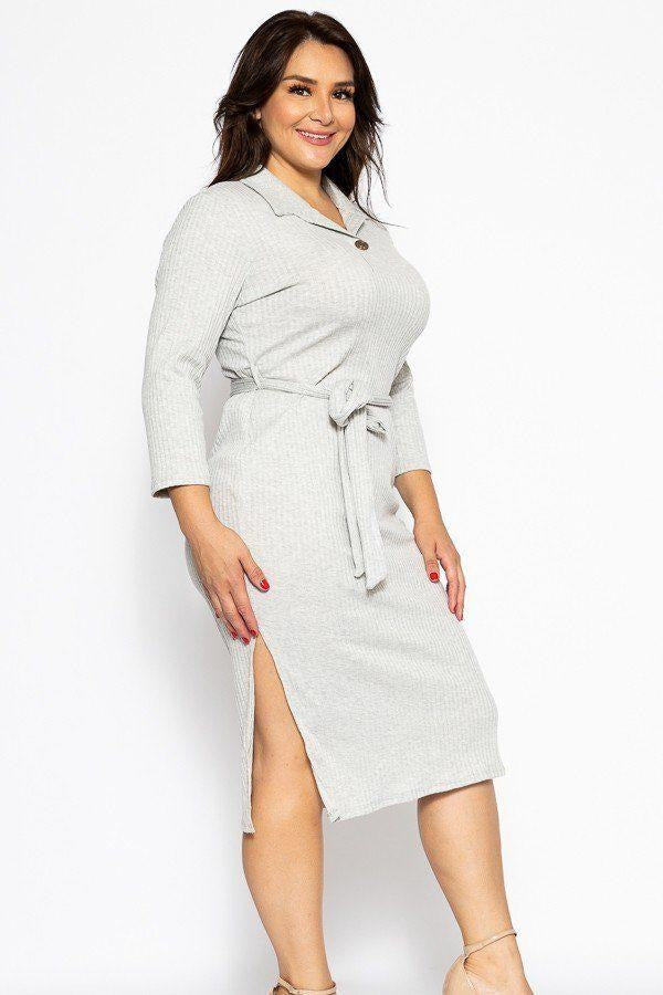 Kardi Cream Cut Midi Dress - Long Sleeve Dresses