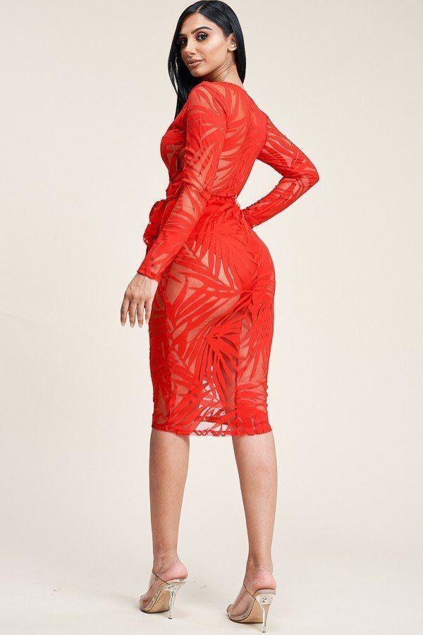 Long Sleeve Cross Over Burnout Mesh Midi Dress
