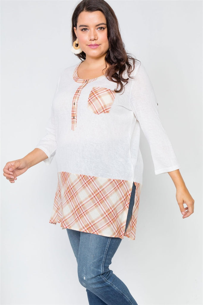Match In Heaven Plaid Top - White/Orange - Tops - Longsleeve
