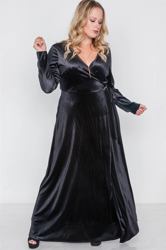 My Velvet Prestige Maxi Dress - Black / US:18-20 | 2XL - Long Sleeve Dresses