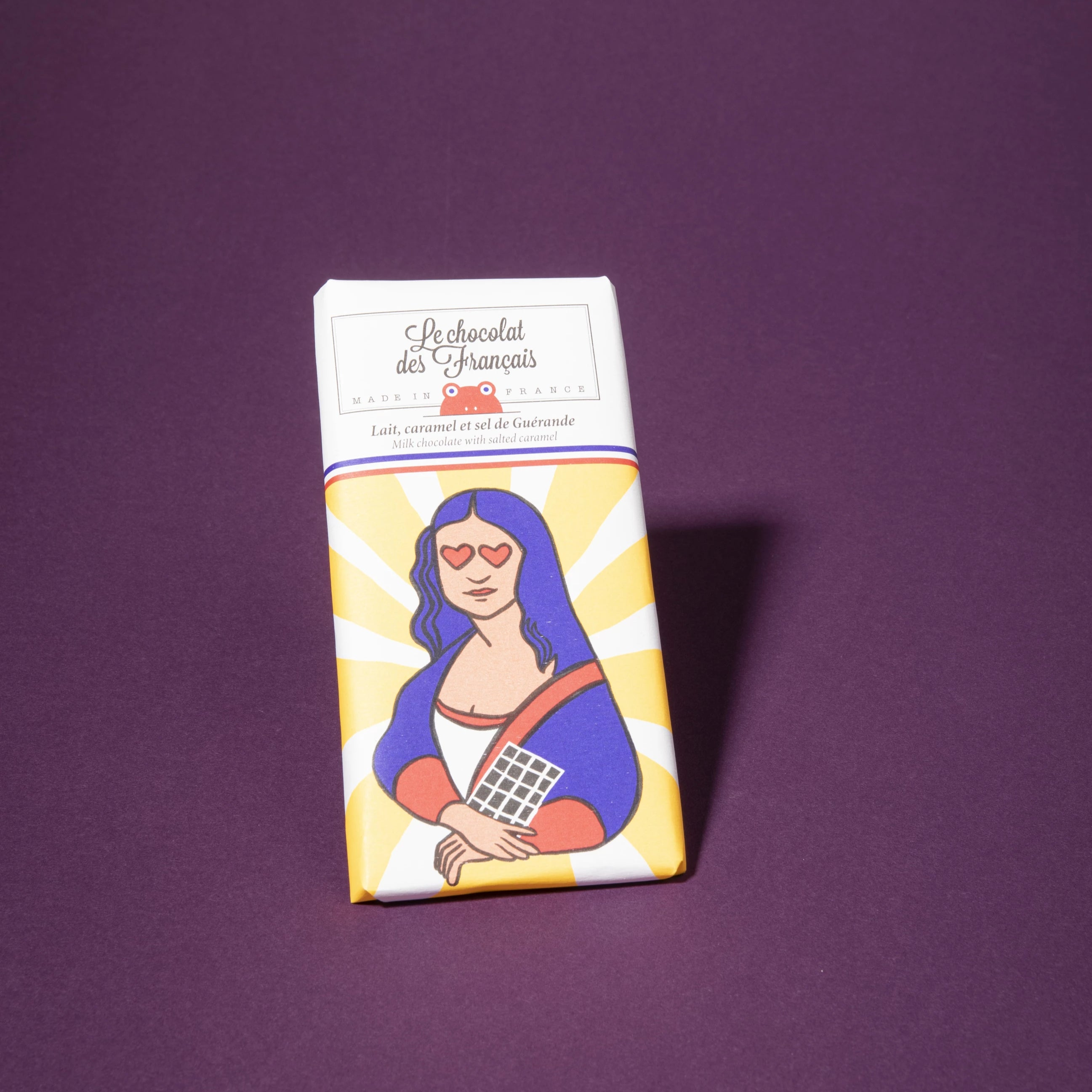 Le Chocolat de Francais Milk Chocolate Bar with Salt and Mona Lisa Print Wrapper