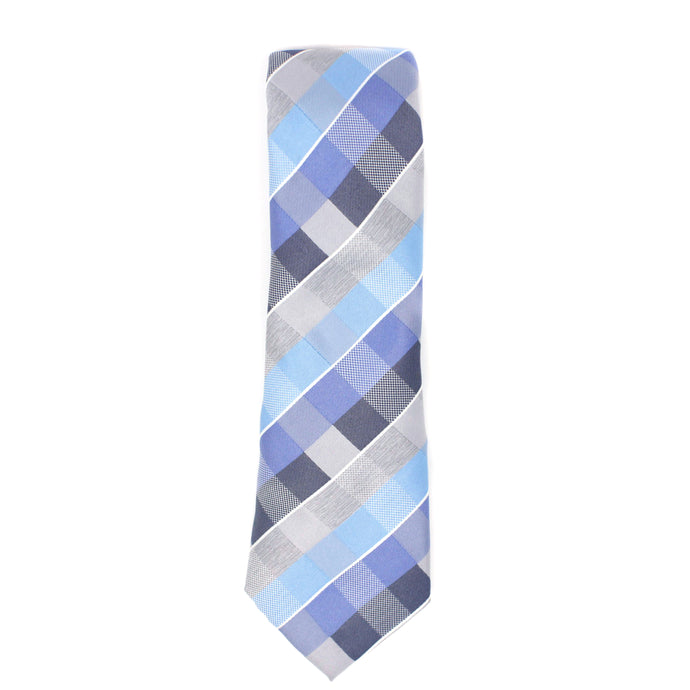 Checkered Blue and Gray Tie-Front
