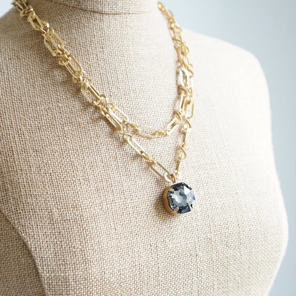 La Vie Parisienne Crystal Smoke Link Necklace - Lily Charleston