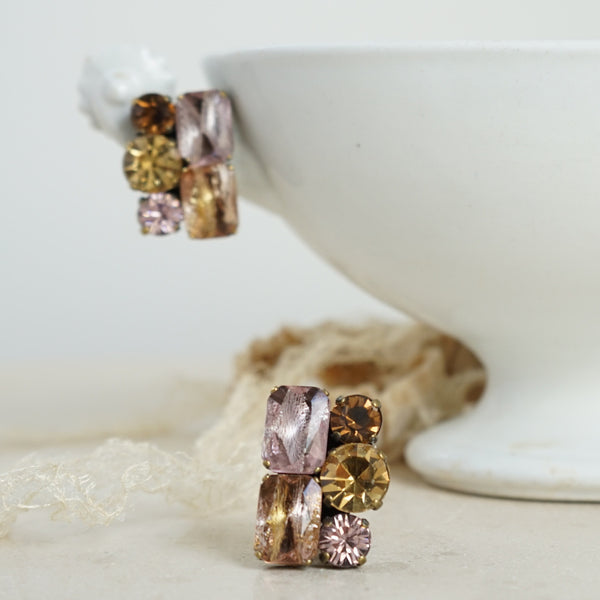 JL Blin Pink Honey Clip Earrings