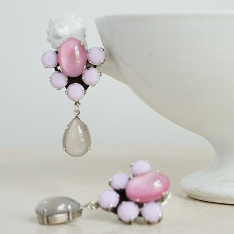 JL Blin Pink Drop Clip Earrings - Lily Beaufort