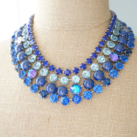 JL Blin Cobalt Fire Four Strand Necklace - Lily Charleston