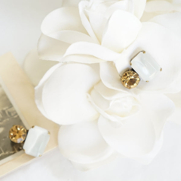 JL Blin Moon Glow and Honey Clip Earrings - Lily Beaufort