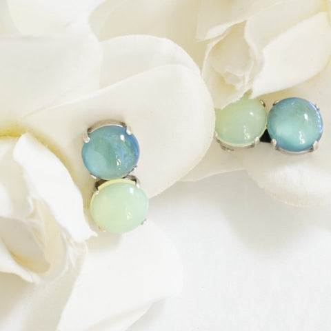 JL Blin Sea Green Clip Earrings - Lily Beaufort