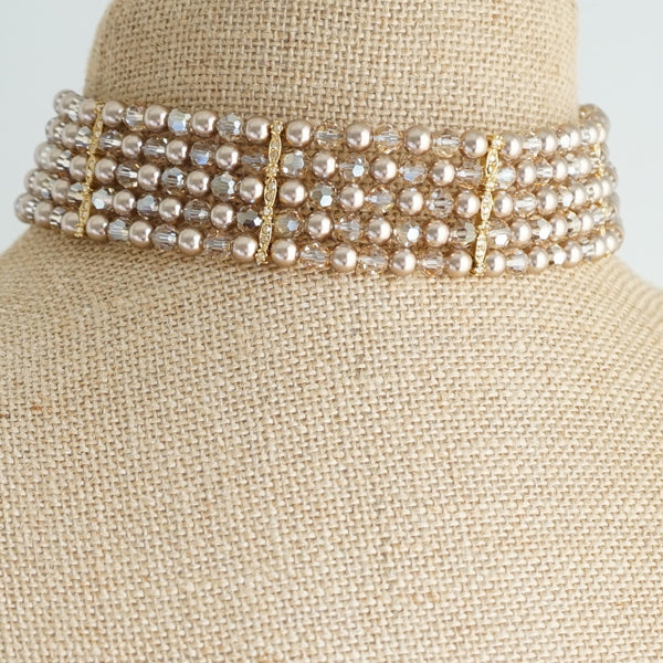 Champagne Crystal Choker - Lily