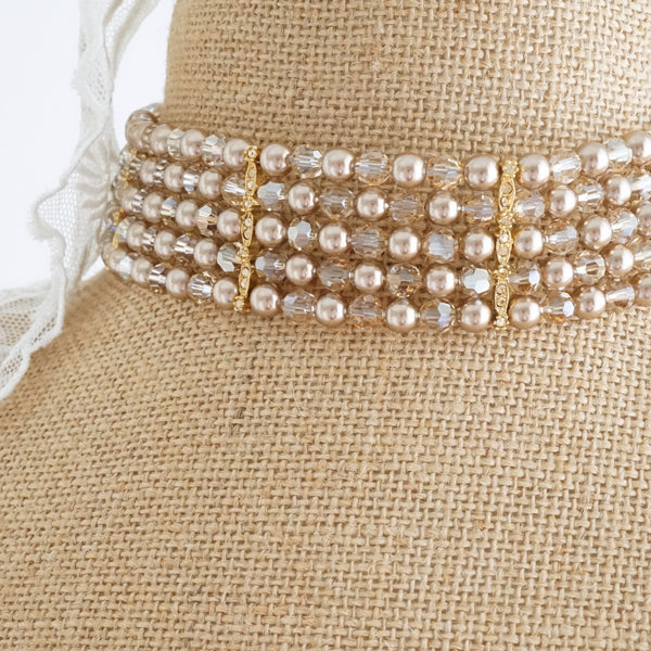 Champagne Crystal Choker - Lily Beaufort