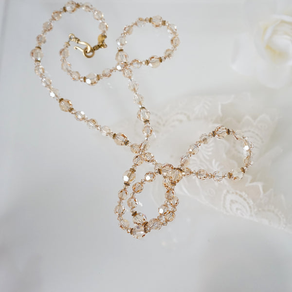 Champagne Crystal Necklace - Lily Charleston