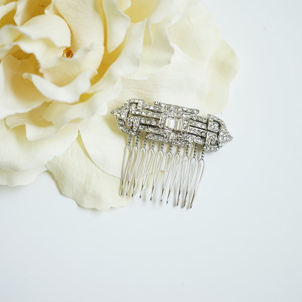 Deco Crystal Hair Comb - Lily Charleston
