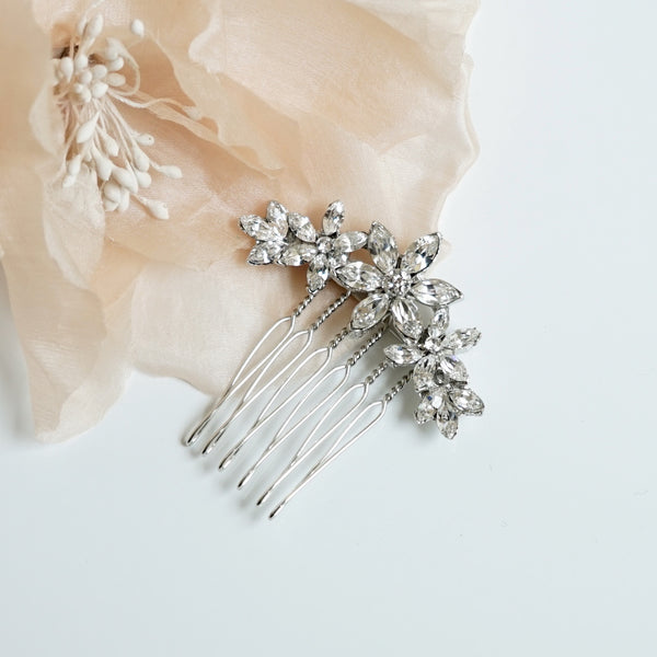 Crystal Flower Comb - Lily Beaufort