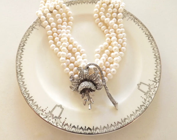 Karen Lindner Pearl Necklace with Vintage Lily Pendant - Lily Charleston