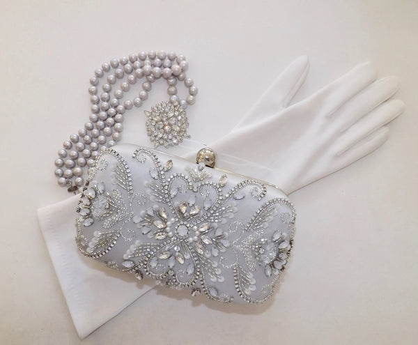 Silver Satin & Crystal Bag - Lily Beaufort
