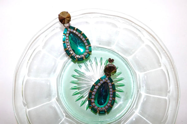 Astolfo Emerald Crystal Earrings