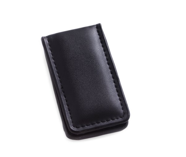 Black Leather Money Clip - Lily Beaufort