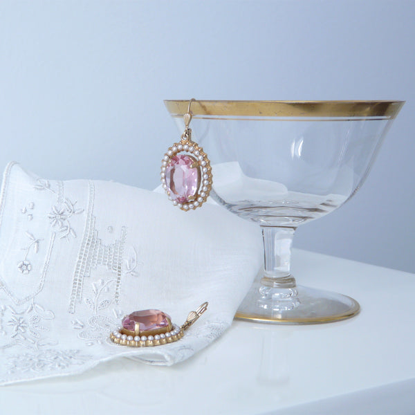 La Vie Parisienne Pink and Pearl Earrings - Lily Charleston