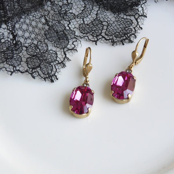 La Vie Parisienne Fuchsia Crystal Earrings - Lily Charleston