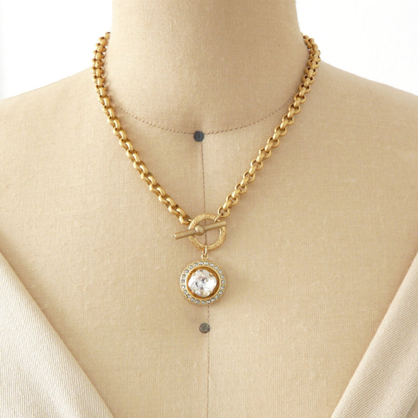 La Vie Parisienne Crystal Toggle Necklace - Lily Charleston