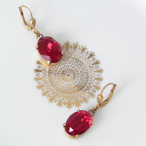 La Vie Parisienne Red Crystal Earrings - Lily Charleston