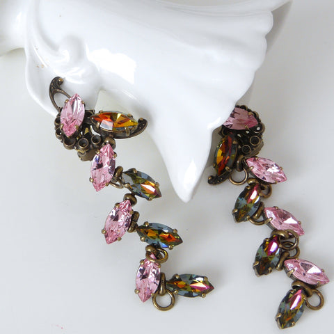 JL Blin Pink Mosaic Clip Earrings - Lily Charleston