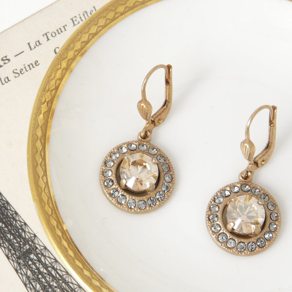 Parisienne Pâte de Verre Champagne Earrings - Lily Charleston