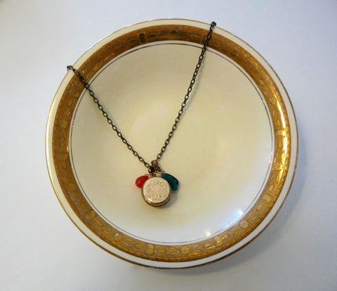 Domed Ivory Intaglio Necklace - Lily Charleston