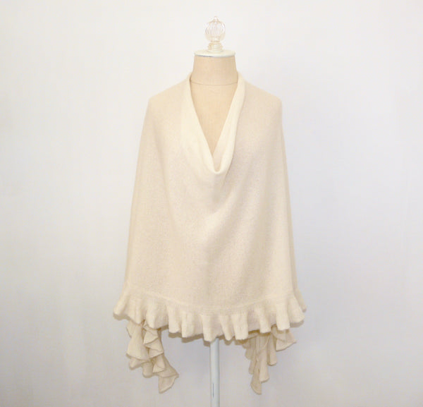 Ivory Ruffled Cashmere Wrap - Lily Beaufort