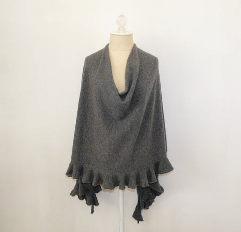 Gray Ruffled Cashmere Wrap - Lily Charleston