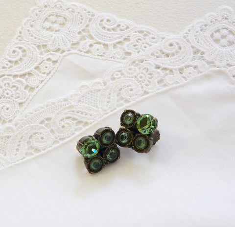 JL Blin Emerald Green Clip Earrings - Lily Charleston