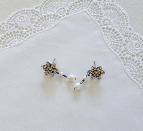 Astolfo Pearl & Crystal Earrings - Lily Beaufort