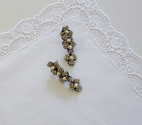 Astolfo Pearl & Crystal Flower Earrings - Lily Beaufort