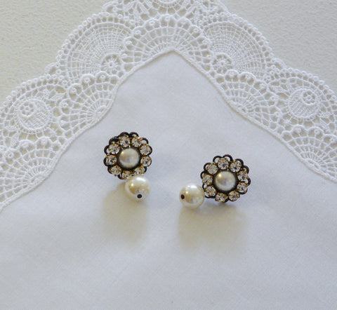 Astolfo Pearl Drop & Crystal Earrings - Lily Beaufort