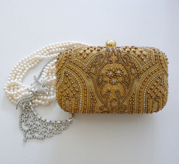 Gold Satin & Crystal Bag - Lily Charleston