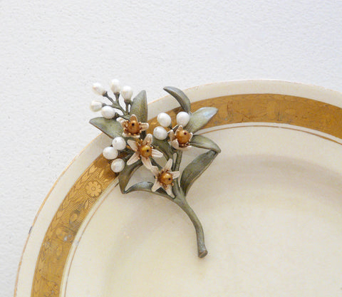The Botanical Garden Orange Blossom Brooch - Lily Beaufort