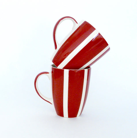 French Red Striped Coffee Cup - Lily Charleston