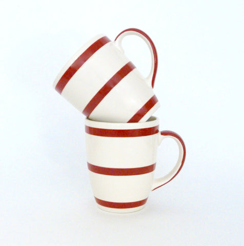 French Red & White Striped Coffee Cup - Lily Charleston