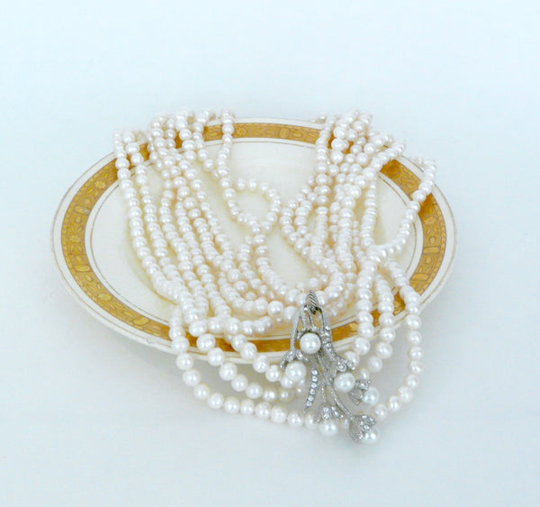 Karen Lindner Pearl Necklace with Pavé Pearl Drop Pendant - Lily Charleston