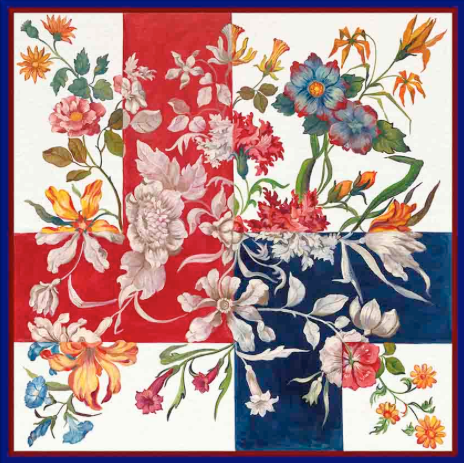 Fiore Rosso Blu Silk Scarf - Lily Beaufort