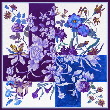 Fiore Viola Silk Scarf - Lily Beaufort